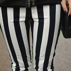 calça listrada preto branco